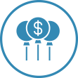 Funding Investments floating money balloons icon
