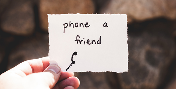 A note to phone a friend